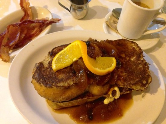 Chocolate Maven Bakery & Cafe : Heavy cream-filled French toast with peach compote; smoked apple bacon