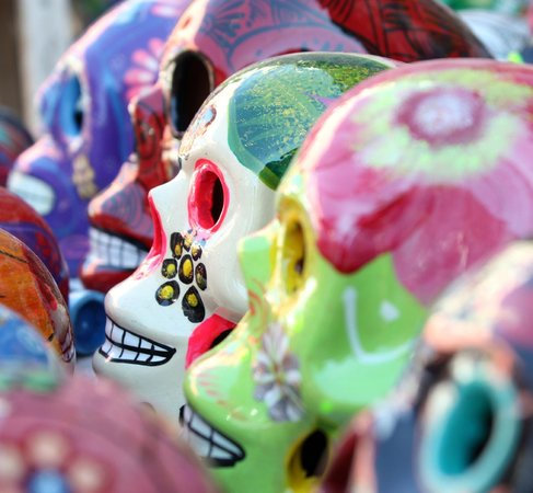 Day of the Dead skulls in Nogales markets