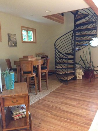 A Lighthouse on Hammersley Bed and Breakfast: The spiral stairs leading to the library...