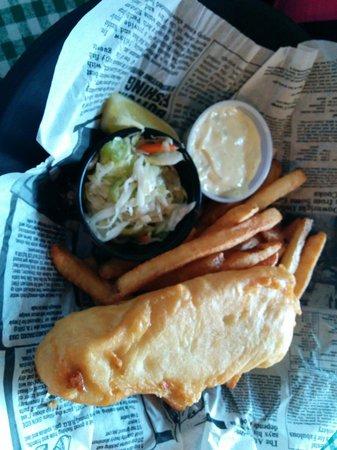 Klondike Rib and Salmon BBQ: Halibut fish and chips 1 piece