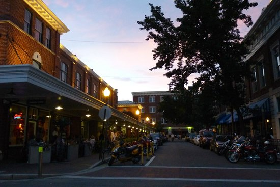 Center in the Square: Downtown Roanoke at dusk.