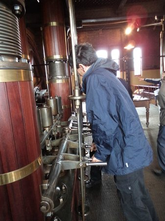 Claymills Victorian Pumping Station: Hubby helping to start one of the engines