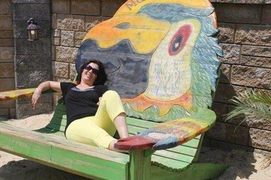 Mojito Bay Tiki Bar: Beautifully painted lounge chairs