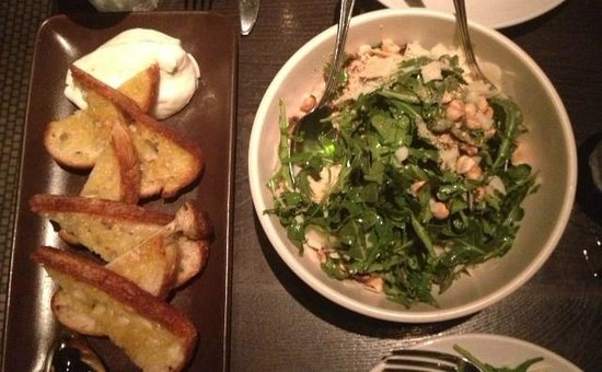 Vesta : Burrata and toasted bread, Arugula Salad