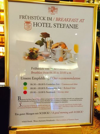 Hotel Stefanie: Breakfast timings.