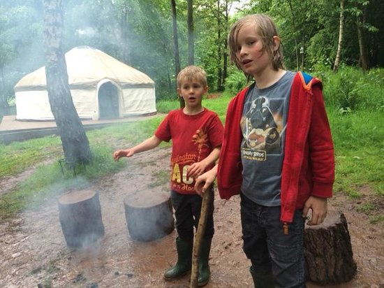 Woodland Tipis and Yurts: Boys poking fires, all day long!