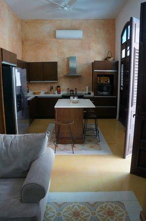 La Terraza de San Juan : Kitchen, balconettes on right