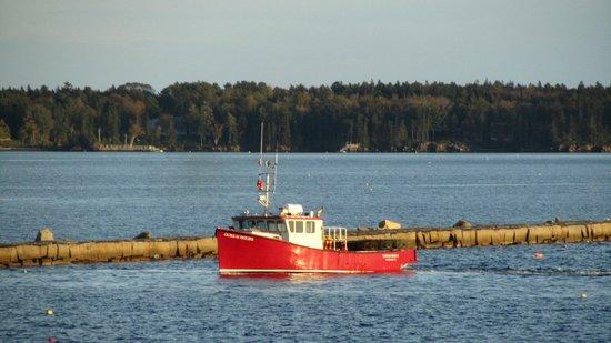 Rockland Breakwater Light: Lobster boat taking in it's catch