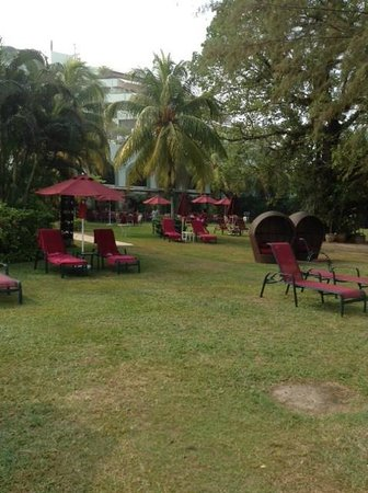 PARKROYAL Penang Resort, Malaysia: cosy garden with the palmtrees