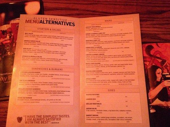 Paddy Flaherty's Irish Pub: Gluten free menu