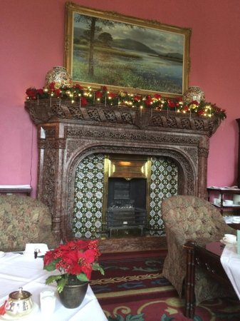Adare Manor: One of many fireplaces decorated for Christmas