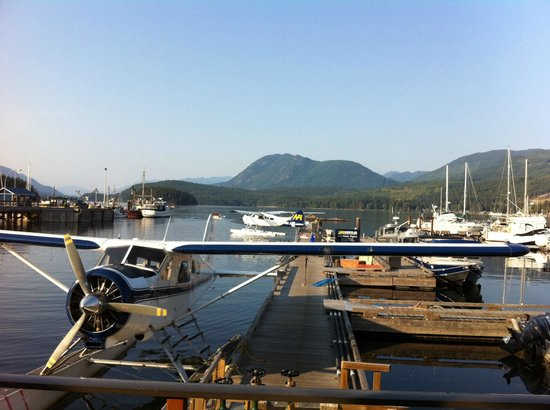 Lighthouse Pub: A coastal marina view from the pub looking up Sechelt Inlet.