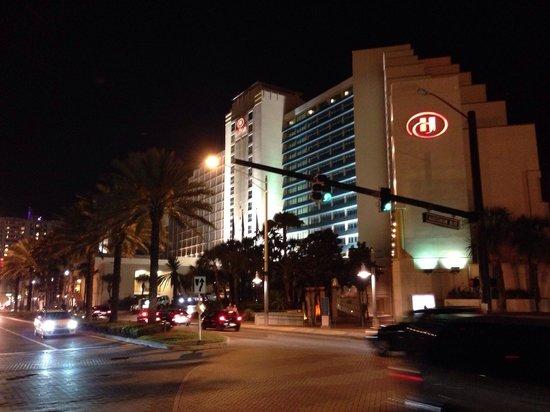 Hilton Daytona Beach / Ocean Walk Village: At night.