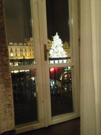 Old Town Square: View of the Christmas tree from inside room