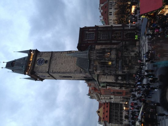Old Town Square: View of Astronomical Clock Tower from balcony
