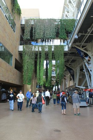 Petco Park: Open air concourses with greenery