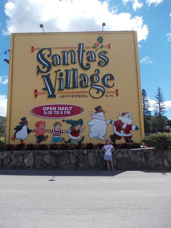 The entrance sign to Santa's Village (little elf included)