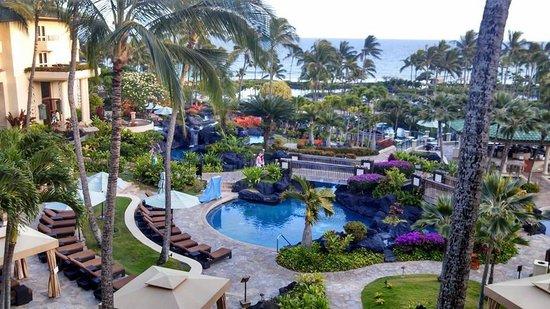 Grand Hyatt Kauai Resort & Spa : View of resort pools and ocean from our room.