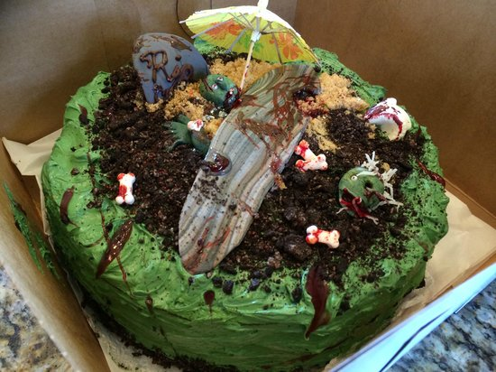 Wondrous Custom Zombie Themed Birthday Cake Delicious Picture Of Personalised Birthday Cards Veneteletsinfo