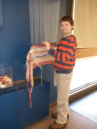 Fuller Craft Museum: Grandson tries his hand at weaving.