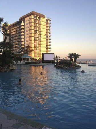 Edgewater Beach and Golf Resort: View from our room of the Dive-in movie screen at sunset