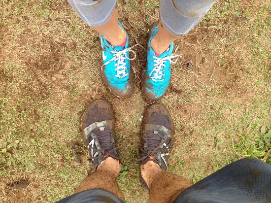 Nevis Peak Hike: The staff at the Montpelier was able to get the mud right out. They were cleaner than when we be
