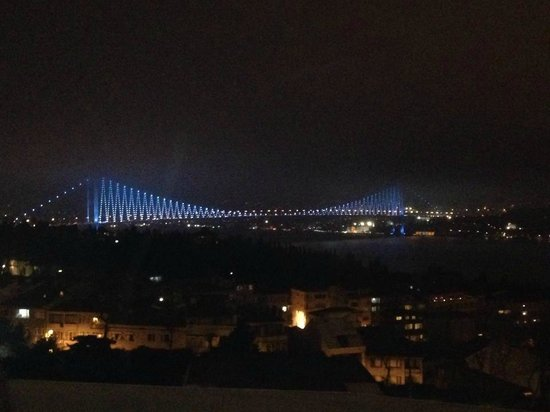 Conrad Istanbul Bosphorus: View of Bosphorus Bridge from the roof top bar area