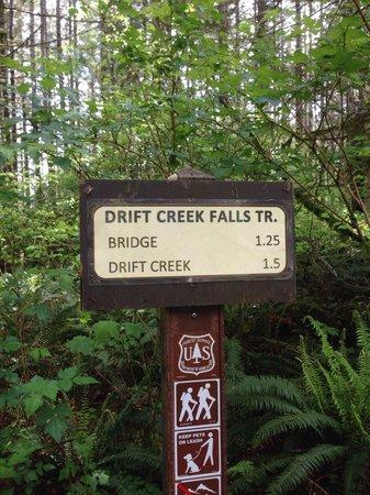 Drift Creek Falls Trail : Drift Creek Trailhead sign.