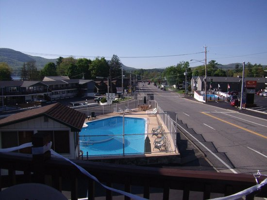 The Lake George Inn: View of the lake and Canada Street from the sun deck