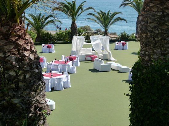 Clube Praia da Oura: this is the bowling green transformed for the staff party, was brill watching them have a good t