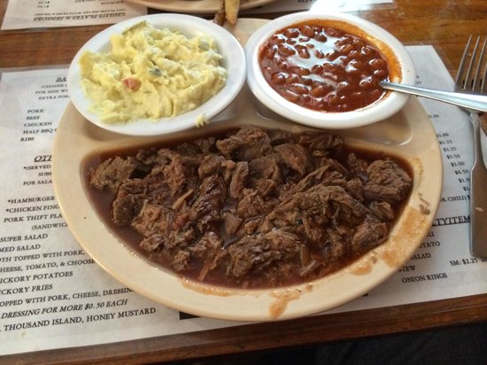 J&W Barbeque : J&W's BBQ beef with potato salad and beans