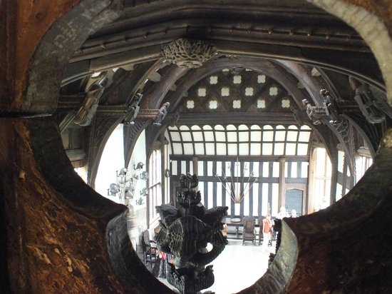 Rufford Old Hall: View down to the Great Hall from the Drawing Room