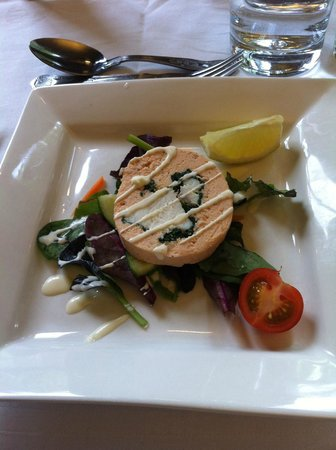 The Old Hall Hotel Restaurant: Smoked salmon, crayfish and prawn roulade.
