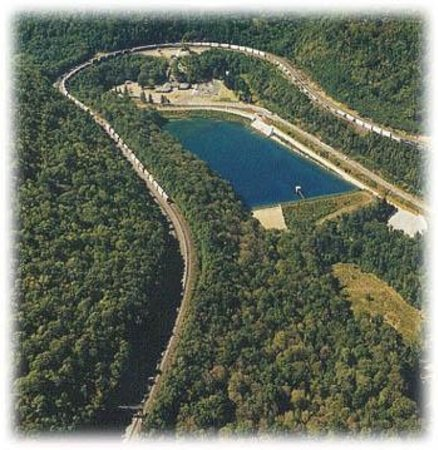 Horseshoe Curve National Historic Landmark: aerial view of the hsc