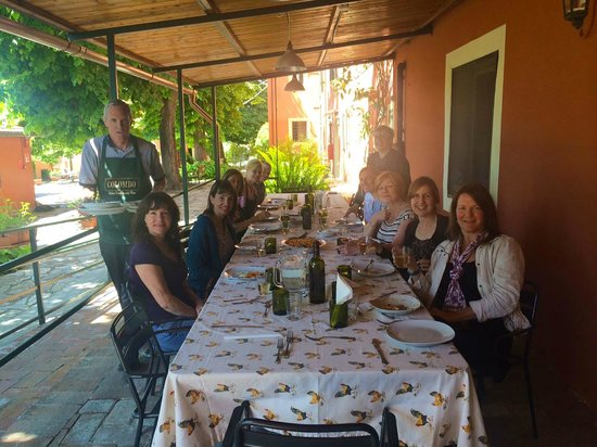 Toscana Saporita Cooking School: post cooking class lunch - ate what we cooked! Delicious!