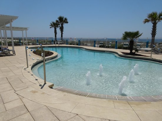 "Holiday Inn Express Pensacola Beach: Hotel pool - just walk ""downhill"" through or around fountains - easy entry and exit"