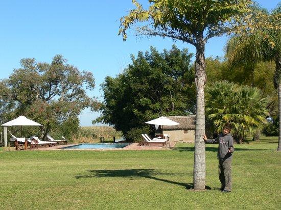 Posada Aguape: la pileta y el parque