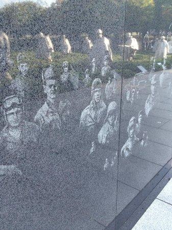 Korean War Veterans Memorial : Reflection in the granite