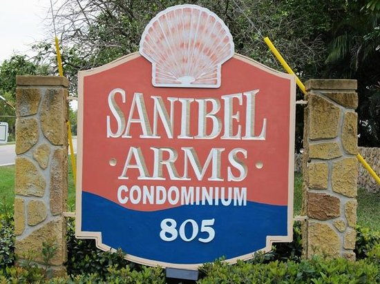 Sanibel Arms Condominiums: Our street sign out front. :)