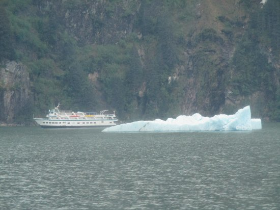 Tracy Arm Fjord : A touring boat giving cruisers a closer look at  the Tracy Arms Fjord area passes an iceberg.
