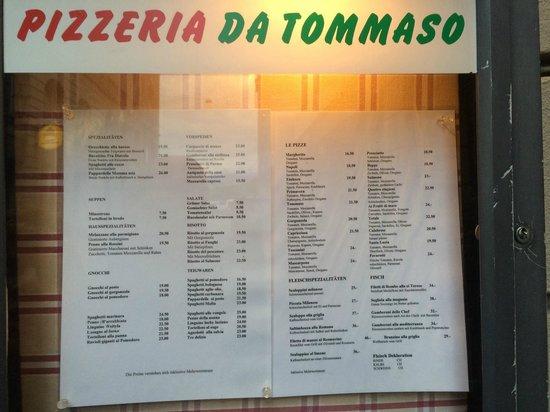 Restaurant Einhorn - Pizzeria da Tommaso: Pizzeria Da Tommaso - Menu