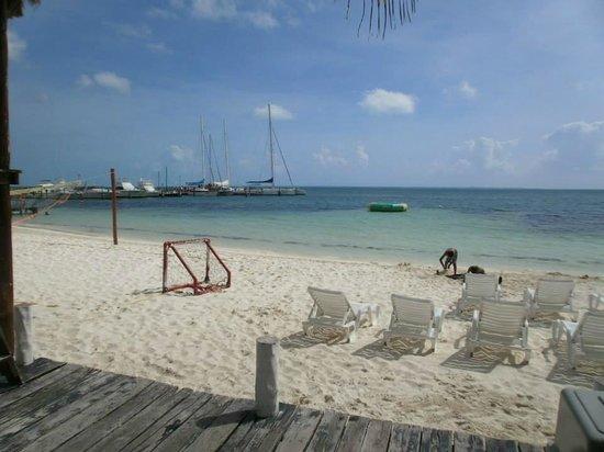 Holiday Inn Cancun Arenas: Esta es parte de la playa del hotel, cuenta con una red para voleibol  y porterías para fut.