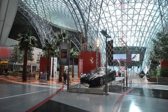 Ferrari World Abu Dhabi: Ferrari World entrance: wellcoming with a black Ferrari!!