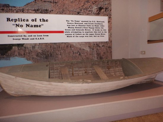 John Wesley Powell River History Museum: Replica of the No Name, lost on the 1st Powell Expedition