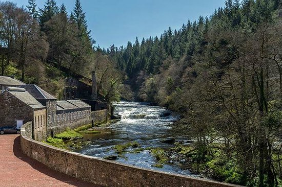 New Lanark World Heritage Village: View over river