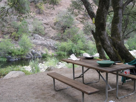 Roaring Camp Mining Company: Campsite overlooking the river