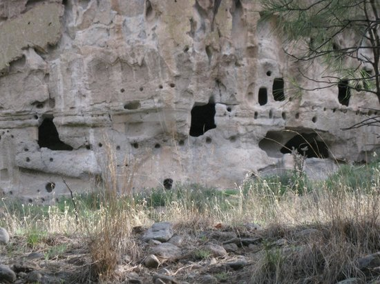 Bandelier National Monument: View of the Ancestral Pueblo Dwellings.