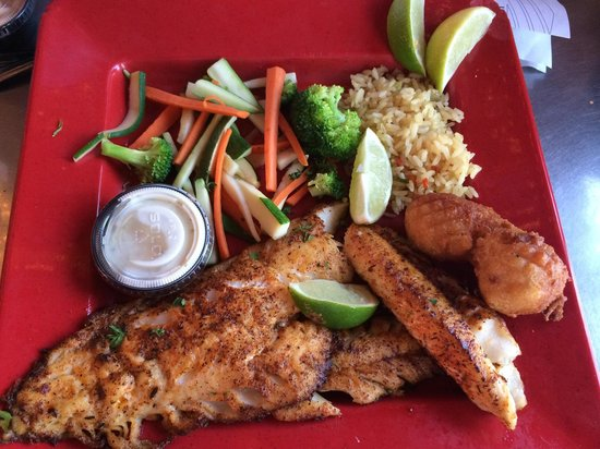 Pier 19: Blackened grouper with veggies and rice. 'Twas delicious.