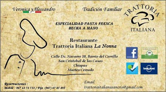 Trattoria Italiana: Tarjeta Restaurante