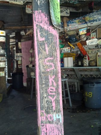 B.O.'s Fish Wagon: We decorated the post next to our table